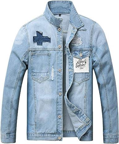 Mens Denim Jacket Ripped Slim Jean Jacket Coat For Men