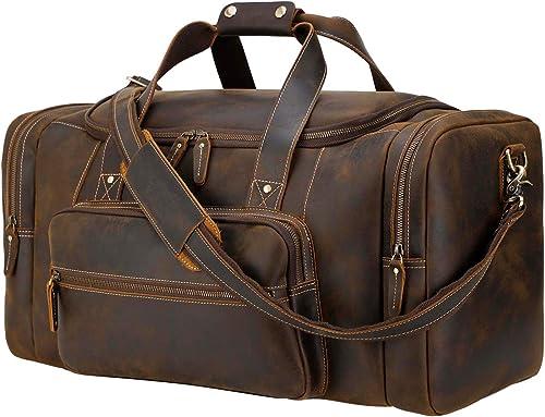 Polare 23 Full Grain Cowhide Leather Gym Duffle Weekender Overnight Travel Duffel Bag For Men