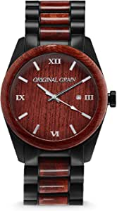 Original Grain Rosewood Black Wood Watch - Classic Collection Analog Watch - Japanese Quartz Movement - Wood and Matte Black Stainless Steel - Water Resistant - Wrist Watch for Men - 43MM
