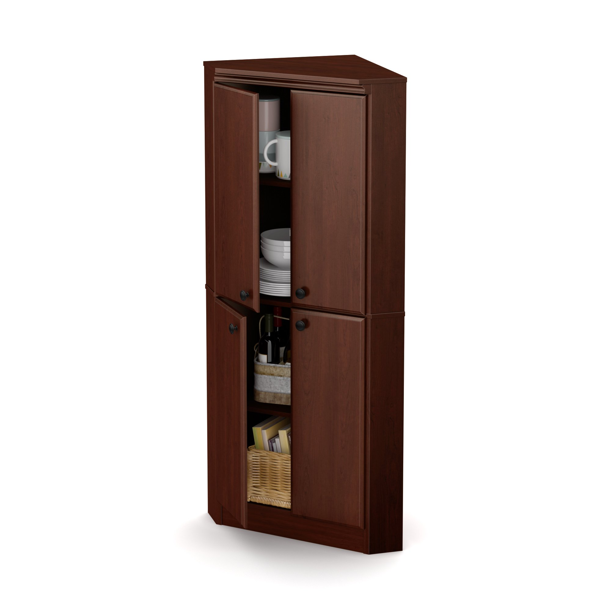 South Shore 4-Door Corner Armoire for Small Space with Adjustable Shelves, Royal Cherry by South Shore (Image #2)