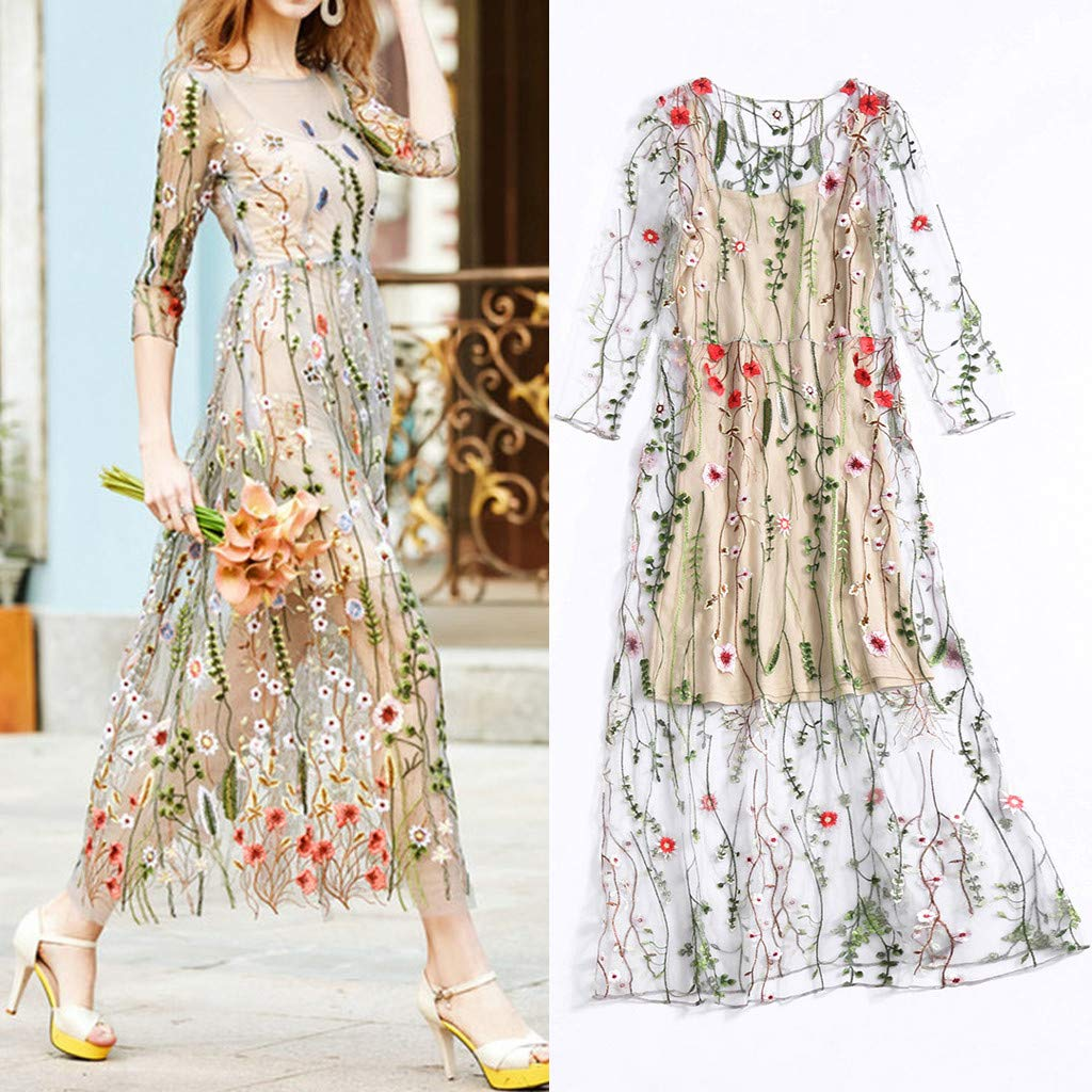 Onegirl Women's Fashion Floral Embroidered Dresses Mesh Half Sleeves Sheer Two-Piece Evening Party Dress Beige by Onegirl-dress (Image #2)