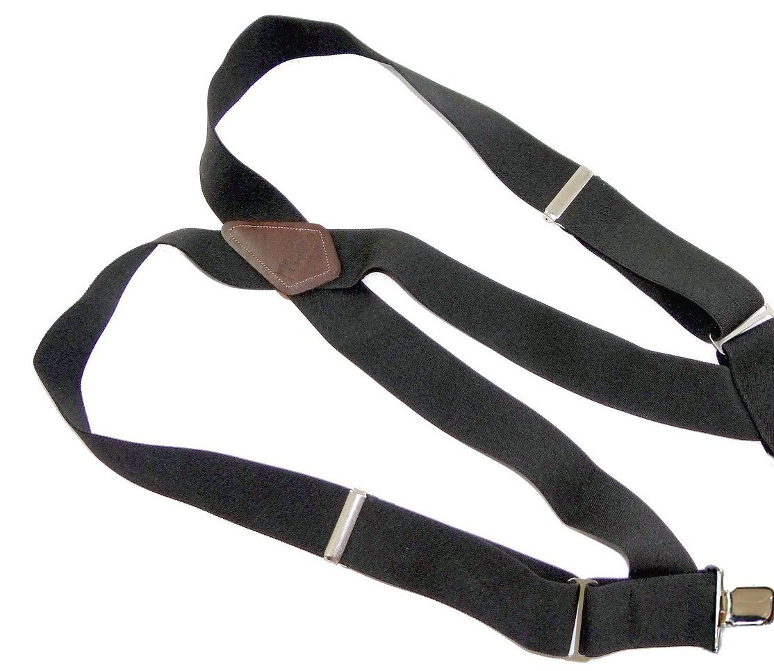 HoldUp Side clip Trucker Style 2'' Wide Suspenders in black with Jumbo no-slip clips