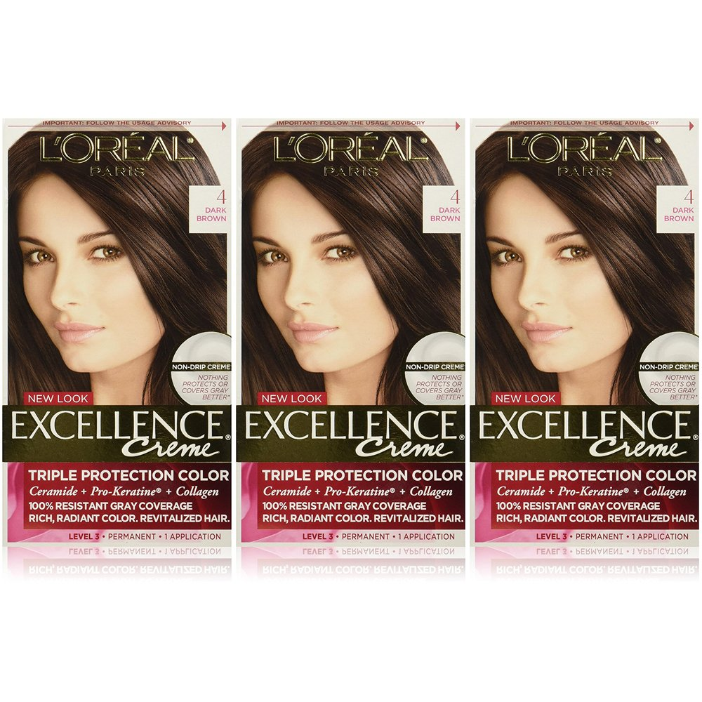 L'Oreal Paris Excellence Creme Permanent Hair Color, 4 Dark Brown (Pack of 3)