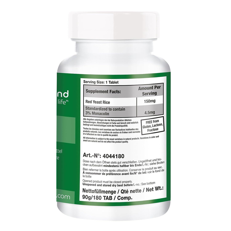 Levadura de arroz rojo - Bote para 6 MESES - 4,5 mg de monacolina K por tableta - 180 tabletas - ayuda a conseguir niveles normales de colesterol: ...