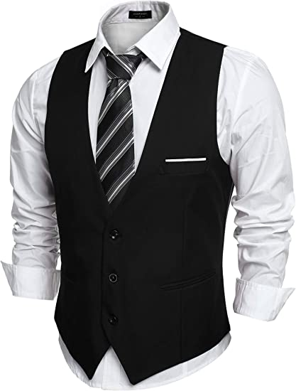 COOFANDY Men's V Neck Sleeveless Slim Fit Jacket Casual Suit Vests