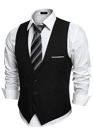 8b22449940 COOFANDY Men's V-Neck Sleeveless Business Suit Vests Slim Fit Wedding  Waistcoat, Type-