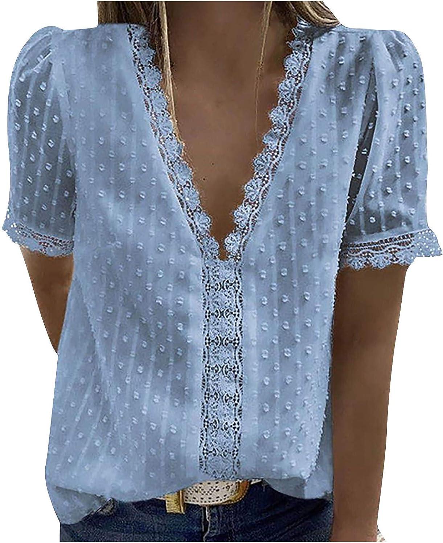 여성용 탑스 여성용 V 넥 반팔 레이스 셔츠 블라우스 빈티지 우아한 튜닉 탑스