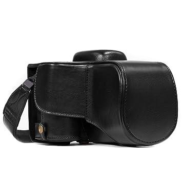 MegaGear MG857 – Funda Protectora con Bandolera de Piel para cámara de Fotos Nikon 1 D3400, Color marrón Oscuro