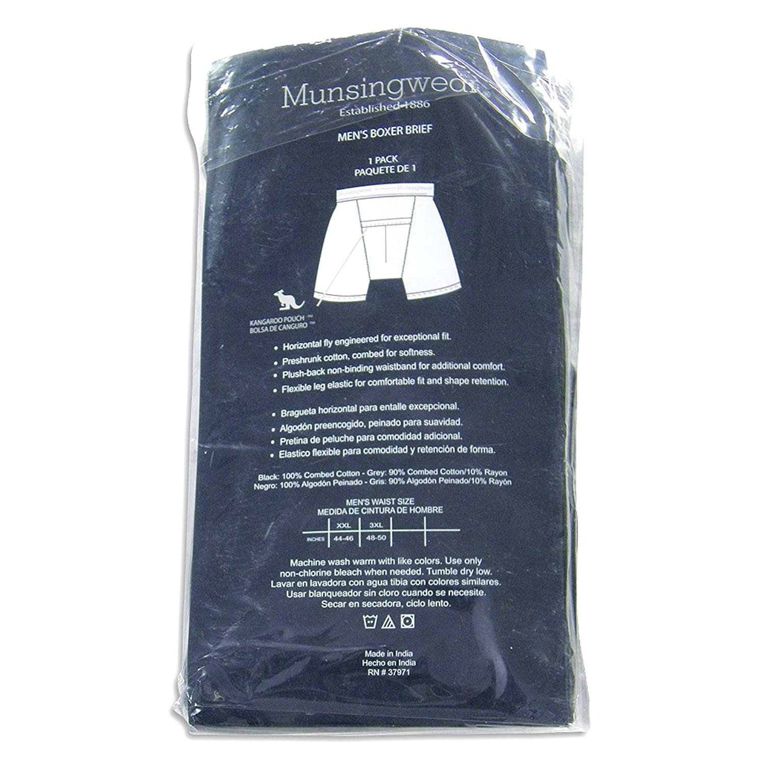 Amazon.com: Munsingwear - Big Mens 1 Pack Boxer Briefs, Black 21186-XX-Large: Clothing