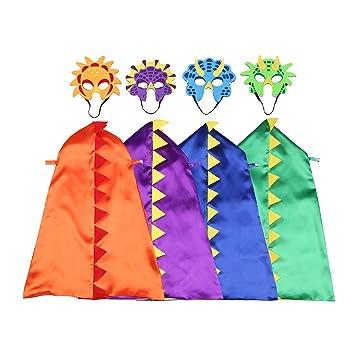 happium – Disfraces de dinosaurio para niños – 4 capa, 4 máscaras cumpleaños recuerdo de