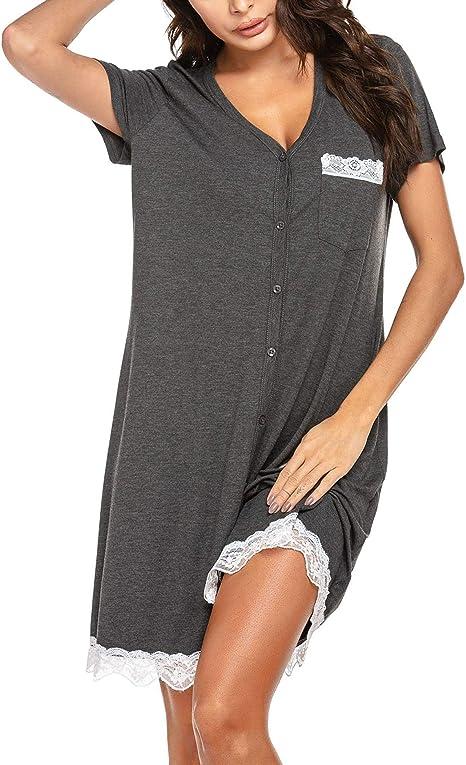UNibelle – Camisa de noche para mujer, de manga corta, informal, con botón abierto gris L: Amazon.es: Ropa y accesorios