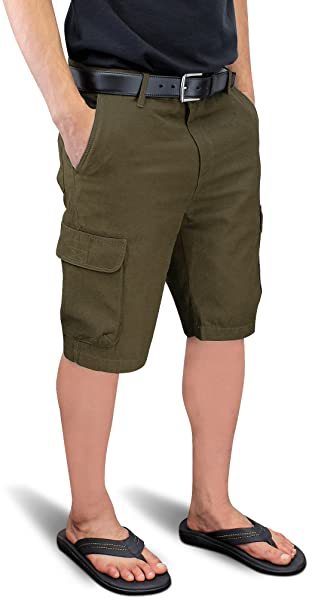 b47f447124 Enimay Men's Cargo Shorts Flat Front Clean Tailored Cotton Bottoms Button  Zipper Olive 38 | Amazon.com