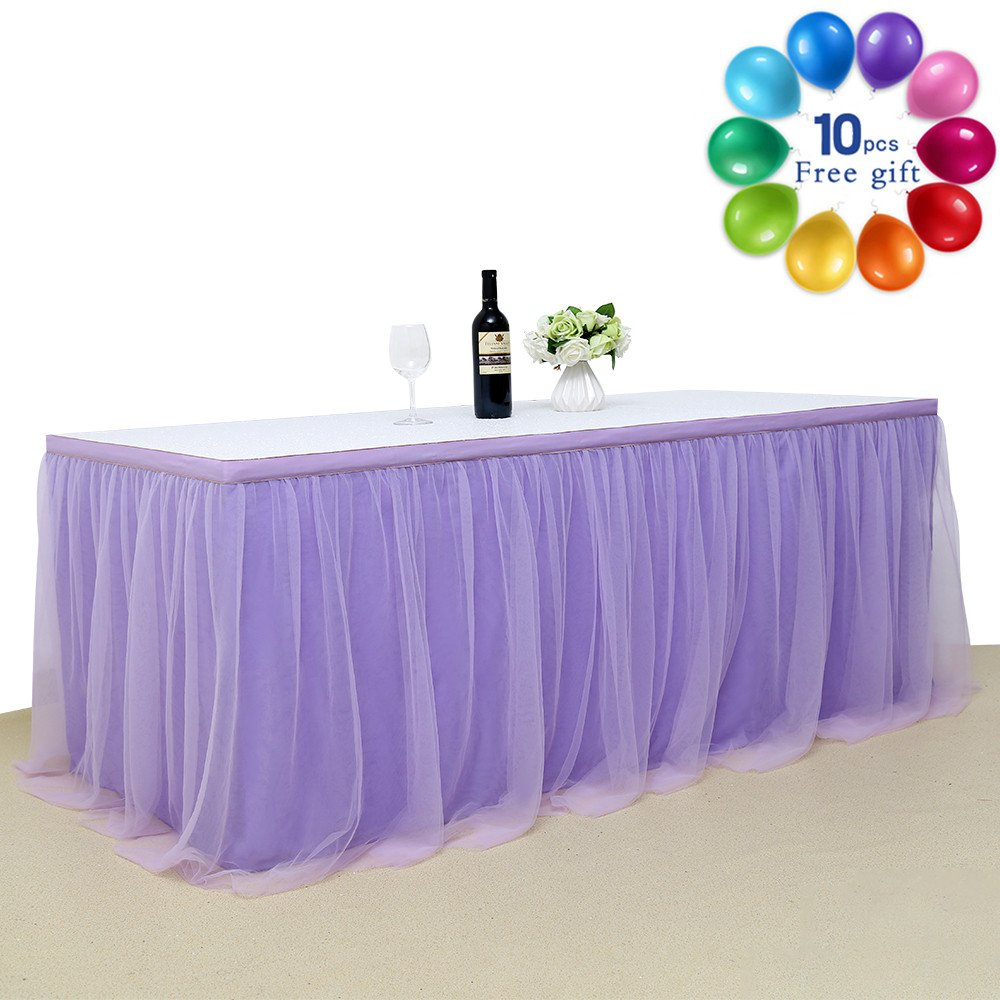 B-COOL Lovely Light purple Tulle Tutu Table Skirt 4.5 yards Tulle Table Cloth Skirt Customized Romantic Girl Princess Birthday Party Table Skirts Banquet Table Decorations(L14(ft) H 30in) by B-COOL (Image #2)