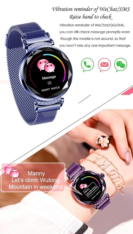 Amazon.com: Smart watch H2 Women 3D Diamond Glass Heart Rate ...