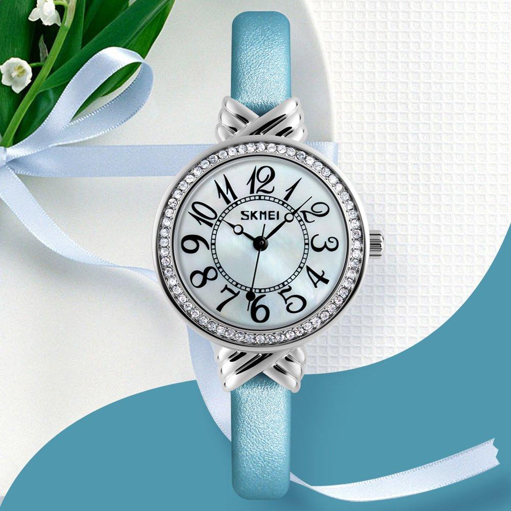 Luxury Brand Women Vintage Quartz Watch Fashion Female Crystal Leather Watch Girl Easy Reader Dress Watch (Light Blue) by Gosasa (Image #3)