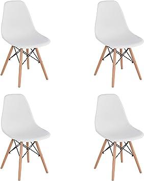 Image of Pack de 4 Mid Century Modern Chair- Silla Moldeada con Patas de Madera de Dowel - para Comedor, Cocina, Dormitorio, Salón - Fácil de Montar y Limpiar - Blanco