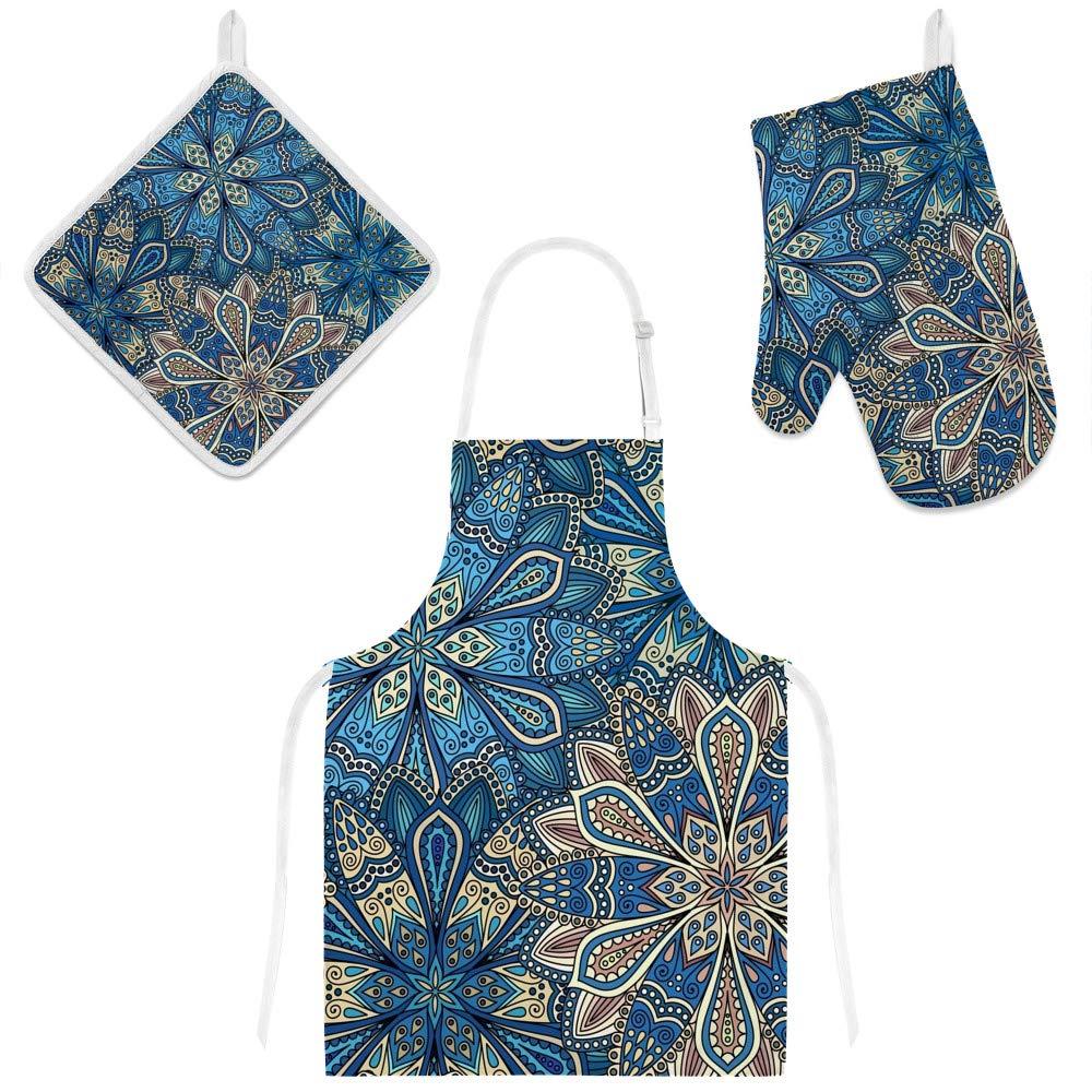 U-Life Apron with Glove Oven Mitt Pot Holder Set Vintage Bohemian Floral Mandala Blue for Women Men Kids