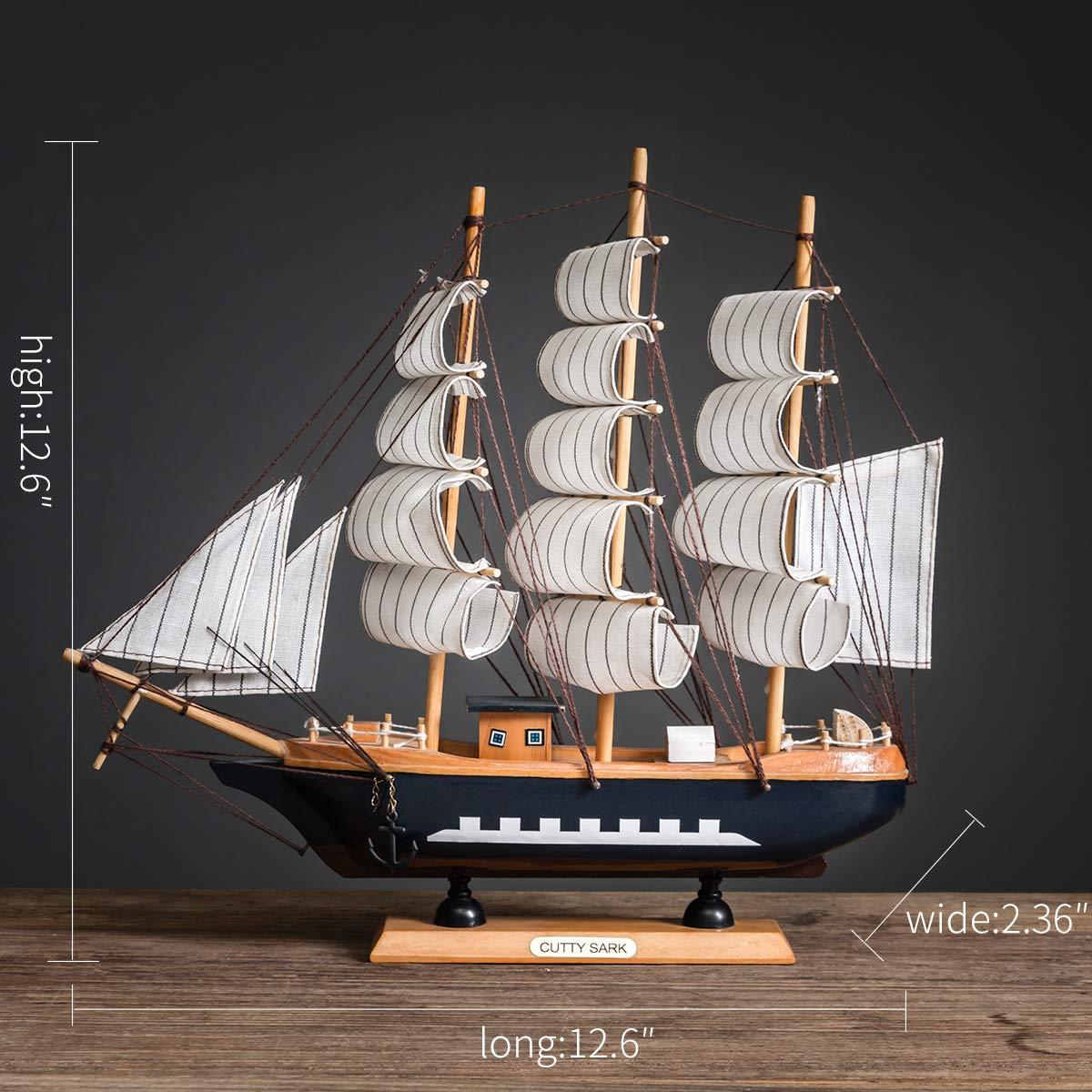 Model Ship Nautical Decor,Wooden Sailing Boat Model Vintage Ship for Tabletop Ornament Ocean Theme Home Decor 15 Colors A