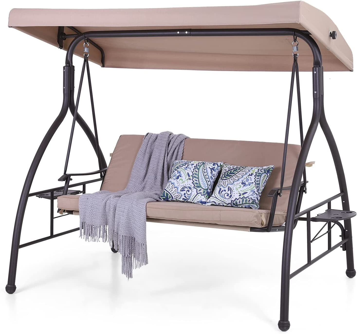 PHI VILLA 3-Seat Patio Swing with Canopy,Outdoor Swing with Retractable Side Table and Removable Cushion,Porch Swing Chair/Bench for Patio, Garden, Poolside, Balcony, Backyard,Alloy Steel Frame,Brown