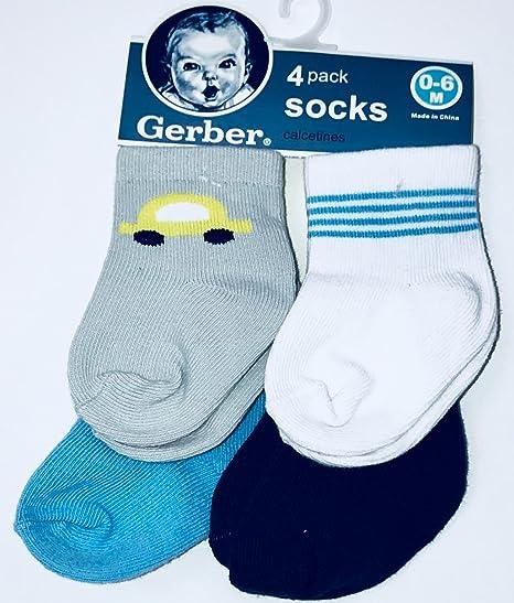 Gerber Newborn Baby Boy Ankle Bootie Sock, 4-Pack