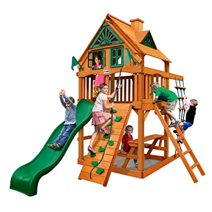 Amazon Com Gorilla Playsets Chateau Treehouse Tower Swing Set With