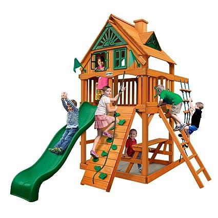 Amazon Com Gorilla Playsets Chateau Treehouse Tower Swing Set Toys