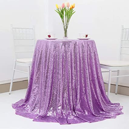 Genial B COOL Lavender Sequin Tablecloth 120u0026quot; Round Wedding Tablecloths  Sparkly Table Linens Deluxe For