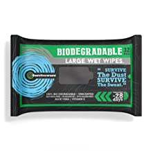 Surviveware Biodegradable Wet Wipes for No Rinse Bathing and Showers. Great for Camping