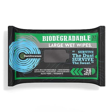 Surviveware Biodegradables para toallitas húmedas sin aclarado baño o la ducha. Ideal para acampar,