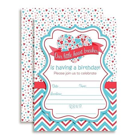 Amazon Valentines Day Heart Breaker Birthday Party Invitations
