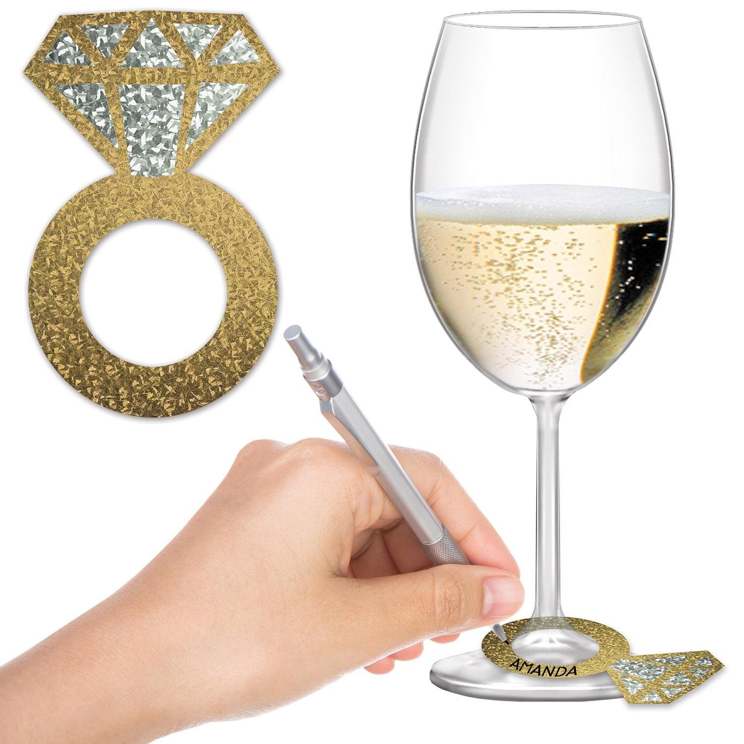 OKSLO Club pack of 288 decorative party diamond ring wine glass markers 3.5пїѕ