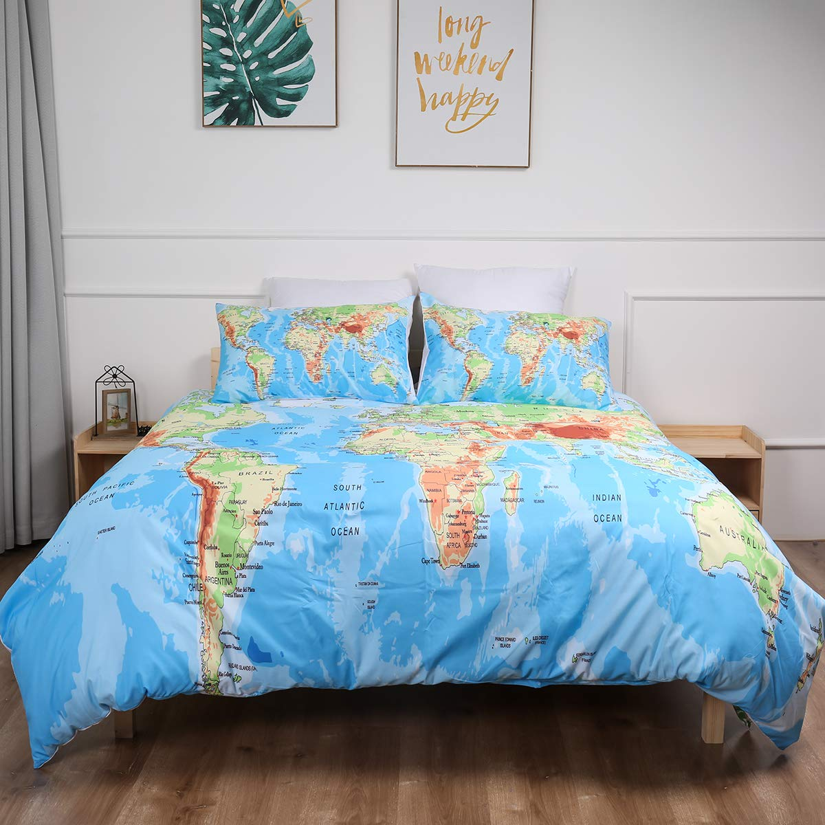 """World Map Bedding Set Twin Size,Blue Ocean and Yellow Land Duvet Cover with Zipper Closure,2 Pieces Soft Microfiber Blue Quilt Cover with 1 Pillowcases Twin Size 68""""x 86"""""""