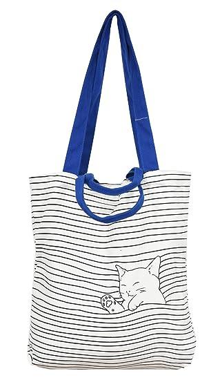 c1e0b205fe62 VigourTrader Women's Pure Cotton Canvas Tote Shoulder Bag