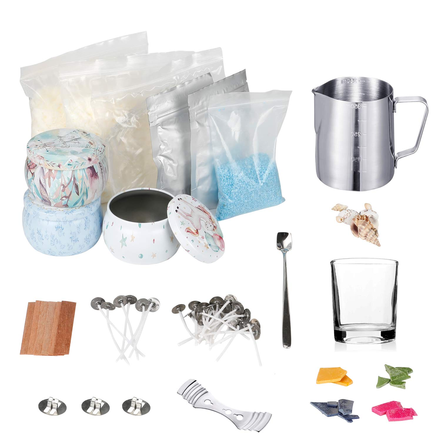 Soy Wax Candle Making Kit Complete Soy Candle Making Kit DIY Candle Making Kit- All-Natural Soy Wax, Melting Pot, Candle Tins, Dye Blocks, Solid Essential Oil, Stirring Spoon, Wax Wick and More