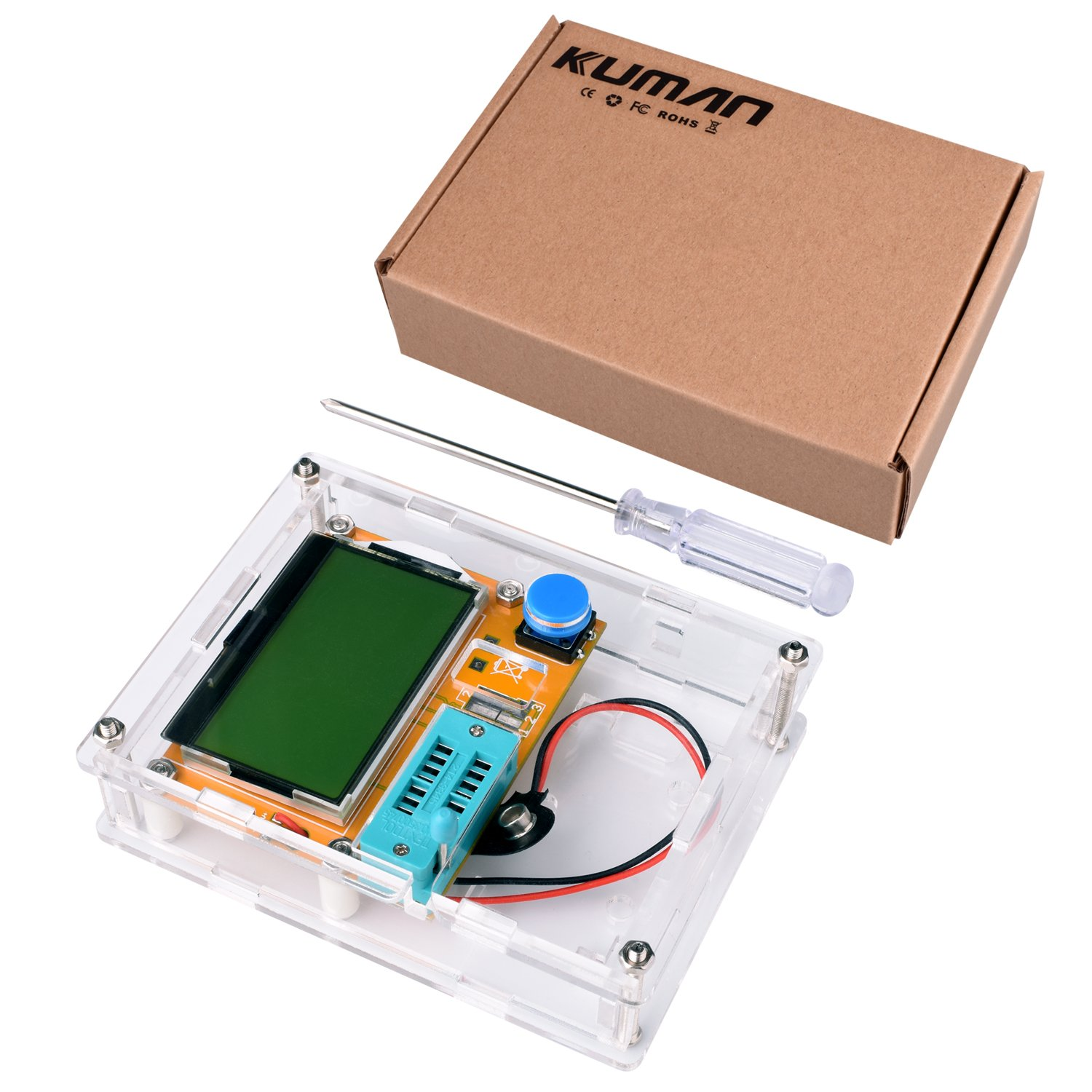 Multifunction Meter DIY kit, kuman Mega 328 Graphic transistor Tester, NPN PNP Diodes Triode Capacitor ESR SCR MOSFET Resistor Inductance LCD Display Checker with case and screwdriver K77 by Kuman (Image #6)