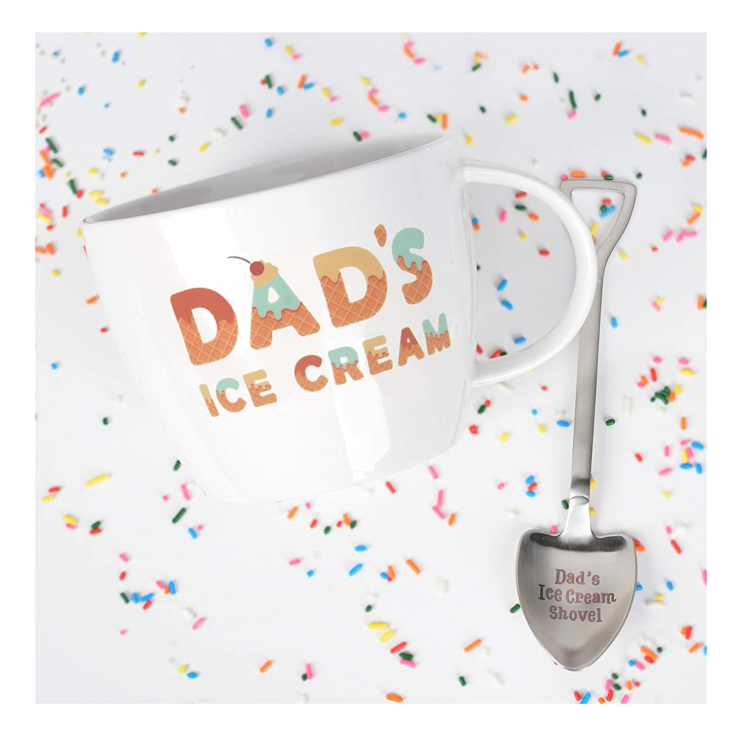 Ideal or Birthday Gift Josephine on Caffeine Gifts for Dad Dad/'s Ice Cream Bowl and Engraved Spoon Dad/'s Ice Cream Shovel
