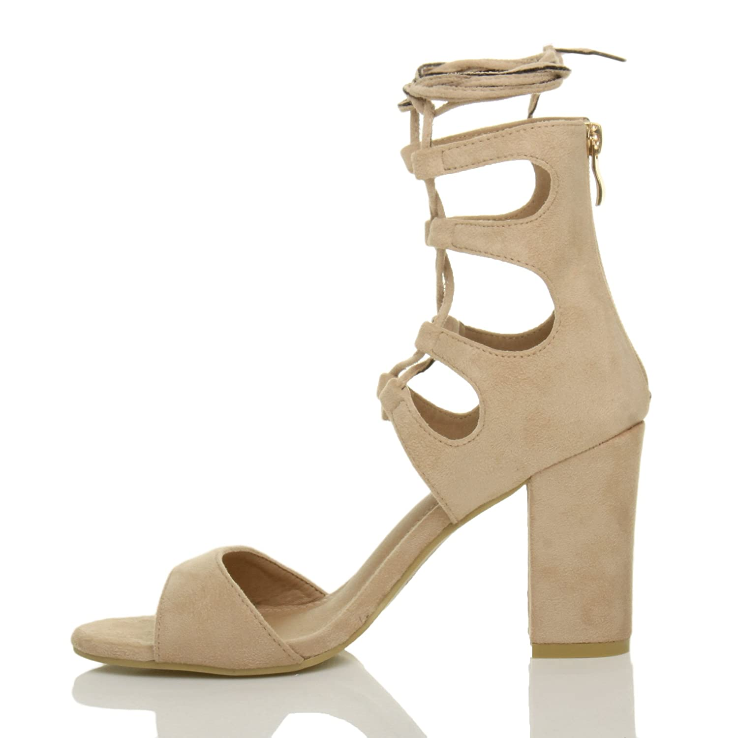 Ajvani Womens Ladies high Block Heel Ghillie Caged tie Lace up Cut Out peep  Toe Shoes Sandals Size: Amazon.co.uk: Shoes & Bags