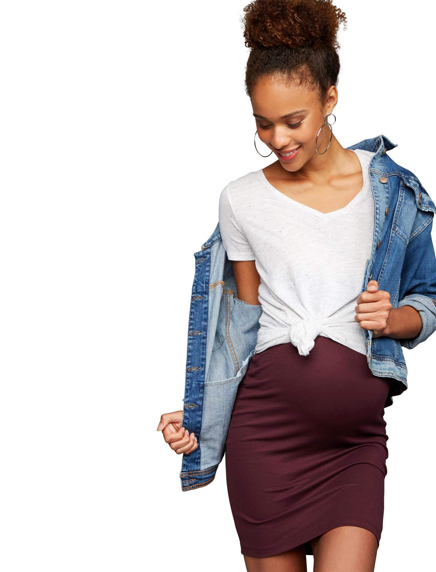 A Pea in the Pod No Belly Lightweight Maternity Skirt