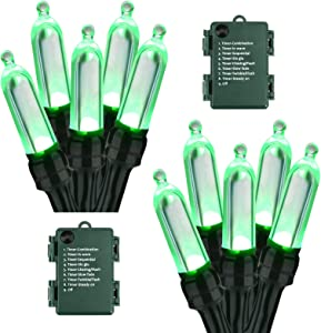 BrizLabs Battery Christmas Lights, 17.94ft 50 LED Green Christmas Lights, Green Wire Christmas String Light Indoor/Outdoor, 8 Modes Decorative Holiday Light for Xmas Tree, Wreath, Wedding, 2 Sets