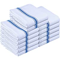 Utopia Towels Kitchen Towels (12 Pack) - Dish Towels, Machine Washable Cotton White Kitchen Dishcloths, Bar Towels & Tea Towels (Blue)
