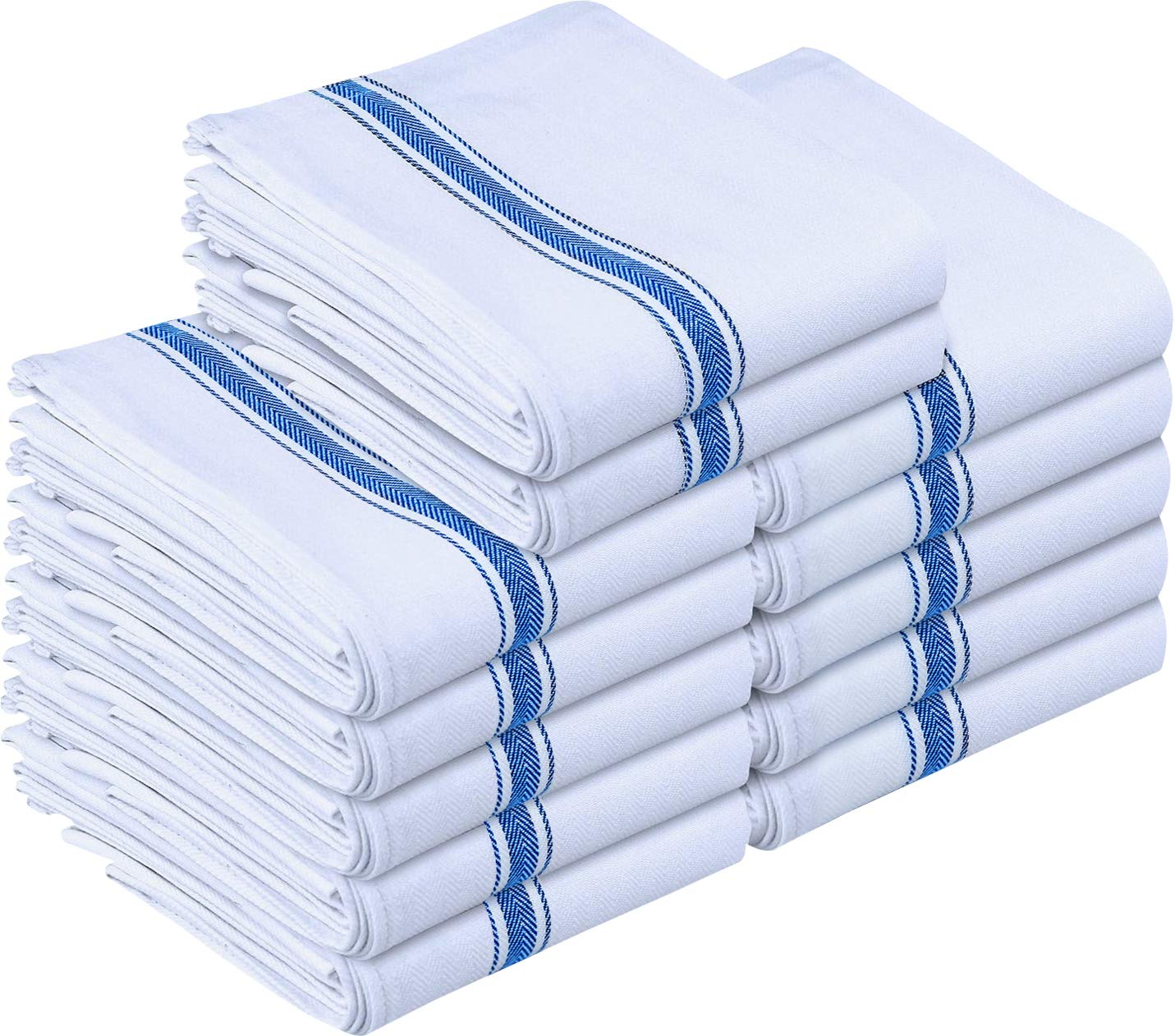Utopia Towels Kitchen Towels - Dish Cloth (12 Pack) - Machine Washable Cotton White Kitchen Dishcloths, Dish Towel & Tea Towels (15 x 25 Inch) (Blue) UT0219