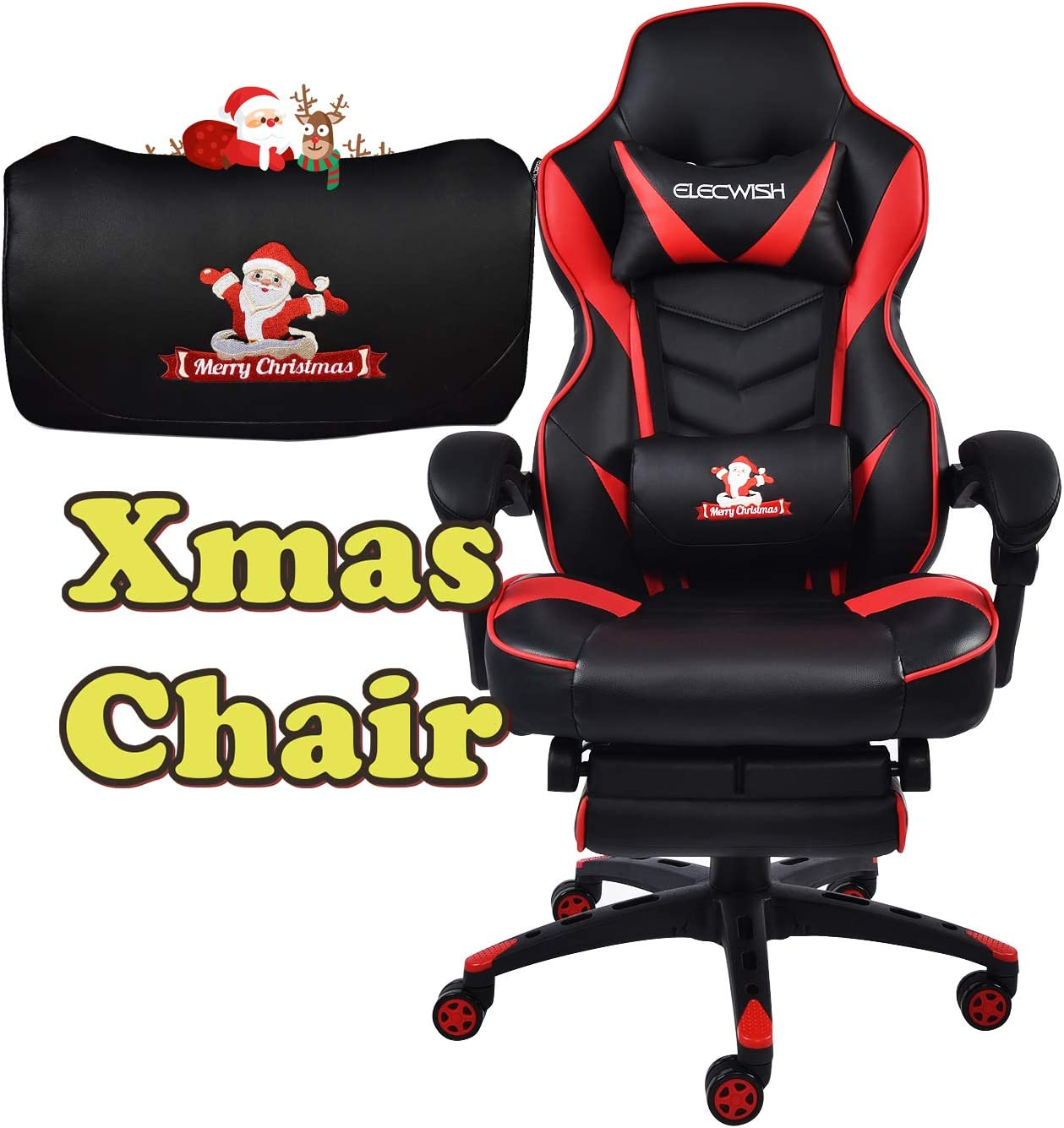 Xmas Edition Gaming Chair Racing Style Reclining Adjustable Swivel Office Chair with Foot Rest, Lumbar Pillow, Headrest Red