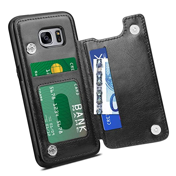 outlet store 3f44a 1000f HianDier Wallet Case for Galaxy S7 Edge, Slim Protective Case with Credit  Card Slot Holder Flip Folio Soft PU Leather Magnetic Closure Cover Case ...