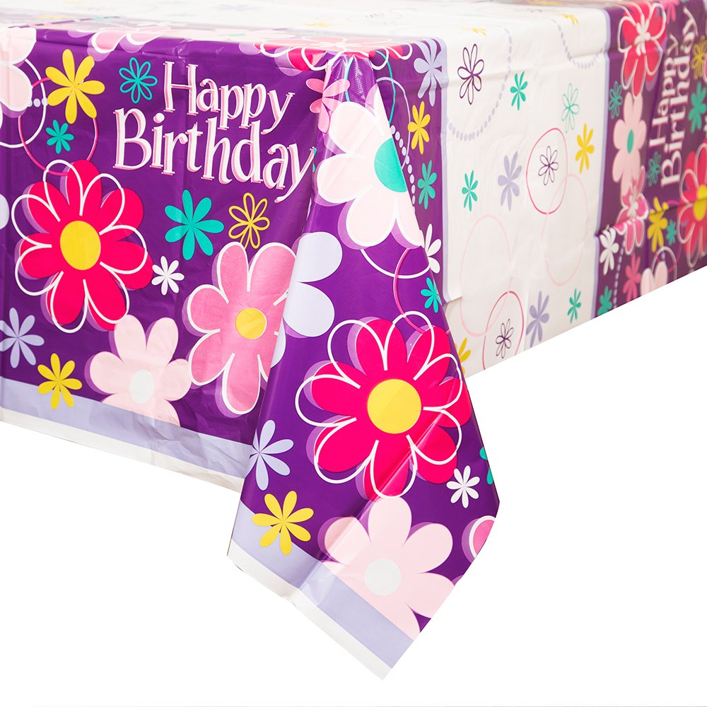 "Blossom Birthday Plastic Tablecloth, 84"" x 54"""