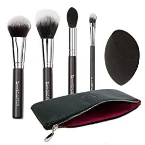 Contour Highlighter Makeup Brush Set with Case – Beauty Junkees 5pc Brushes Kit with Blender Sponge for Full Face Contouring Sculpting Highlighting with Powder Cream Cosmetics, Soft Synthetic Vegan