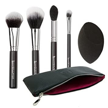 Contour Highlighter Makeup Brush Set - Best 5 pc Powder Cream Full Face Contouring Brushes and