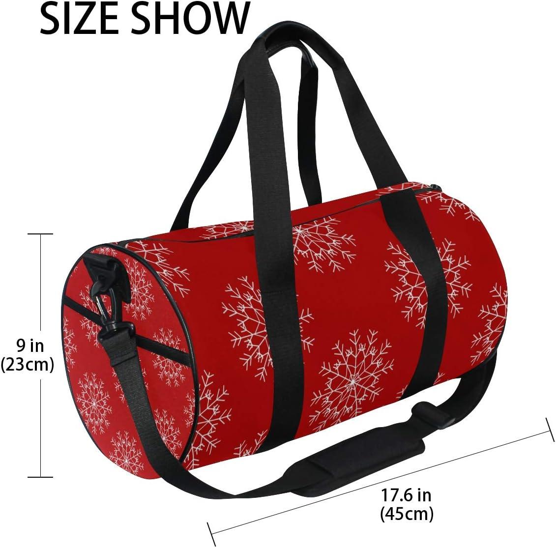 MALPLENA Poinsettia New Years Snowflake Drum gym duffel bag women Travel Bag