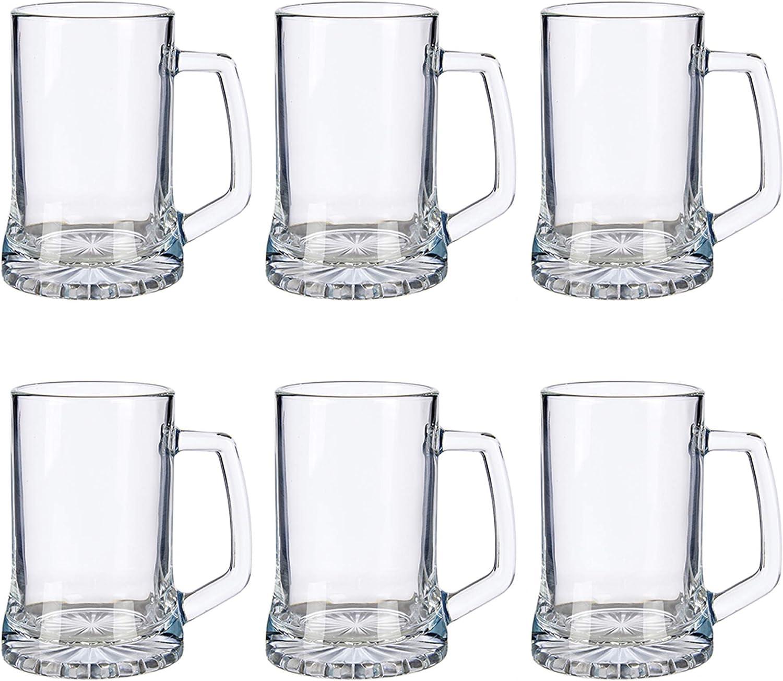 Juego de 6 Jarras Cerveza con asa. Capacidad de hasta 380ml. Jarra de Cerveza Tradicional. Muy típica de Estados Unidos y Gran Bretaña. Vidrio