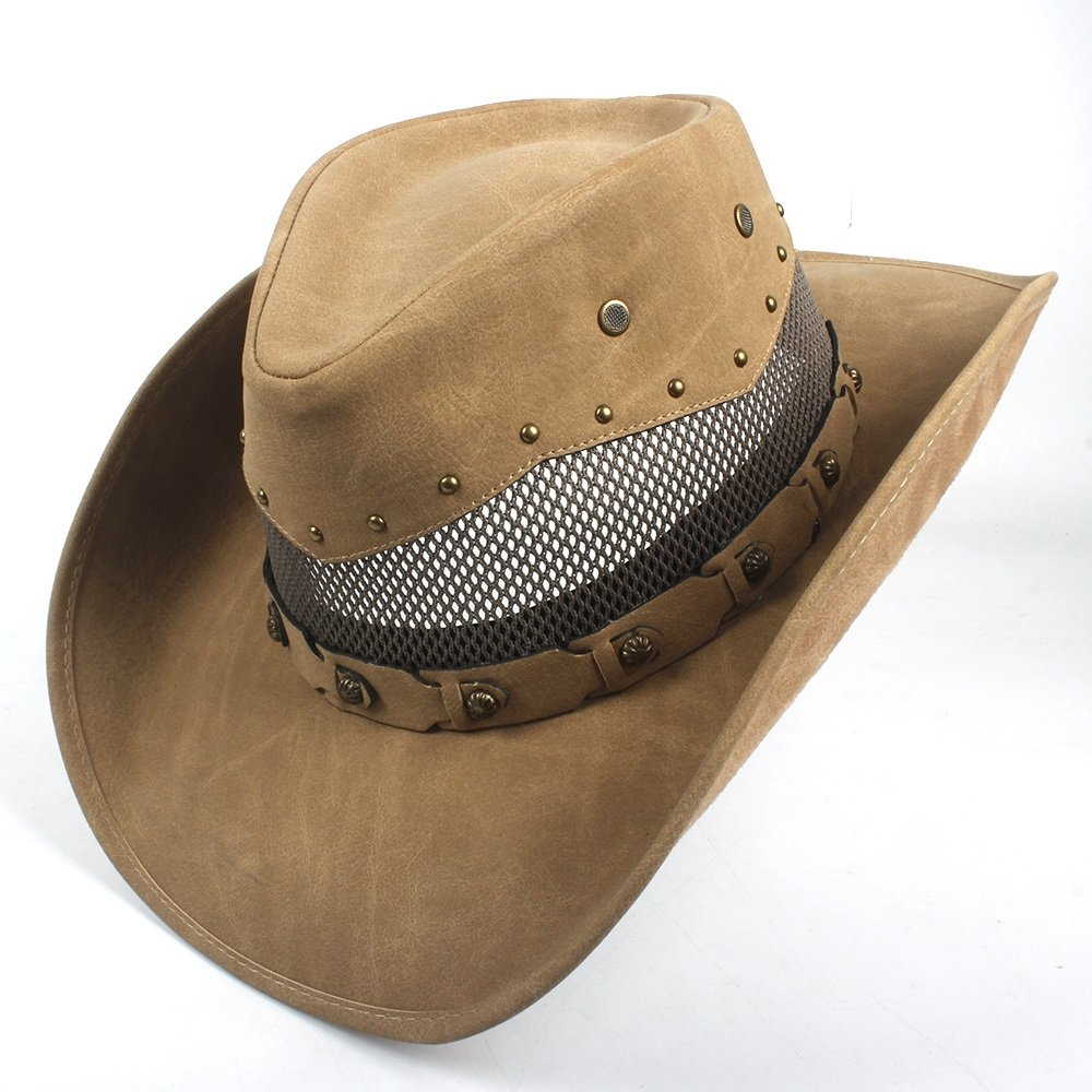 YLY Mens Leather Cowboy Hat Summer with Mesh Dad Godfather Hats 58-59CM