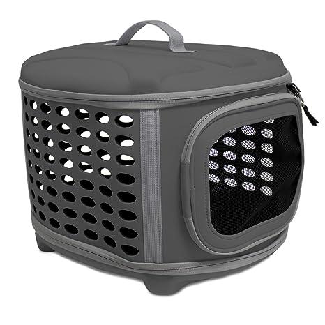 Yatek Transportin Plegable Perros y Gatos Lavable Recomendado para Mascotas de hasta 6kg de Color Gris